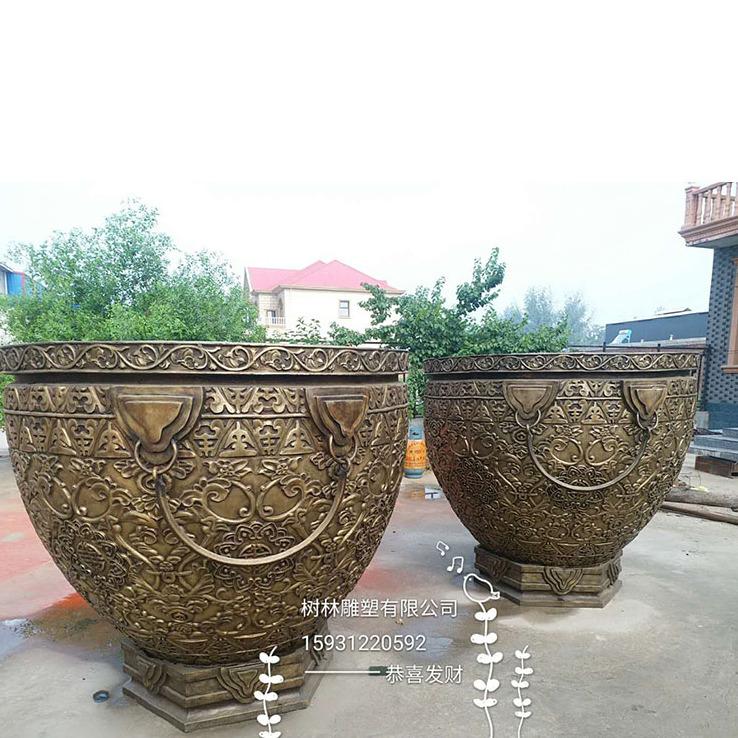 现货 大型仿古铜缸 寺院庙宇水缸招财摆件 铸铜铜佛像观音菩萨