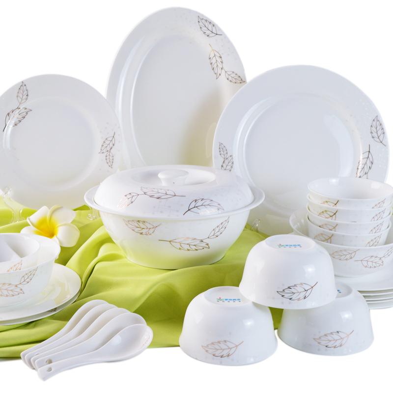 景盛高端餐具套装 骨质瓷餐具套装29头 金叶子 骨质瓷创意金边