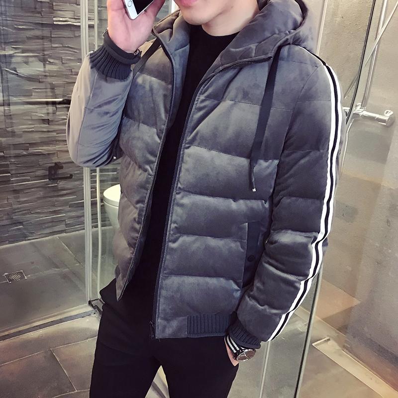 2017冬季新款短款棉衣外套男装连帽韩版帅气金丝绒潮修身羽绒棉服