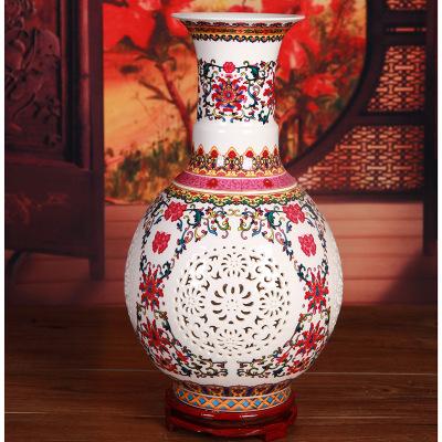 供应 景德镇陶瓷 礼品陶瓷 陶瓷工艺品摆件 镂空花瓶