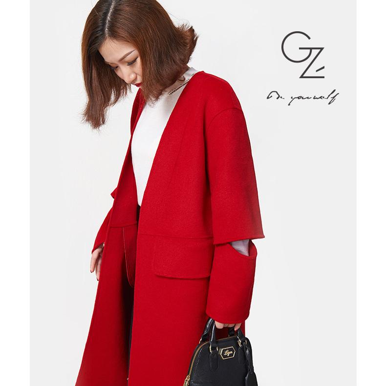 美丽啪红色镂空双面大衣免费试用