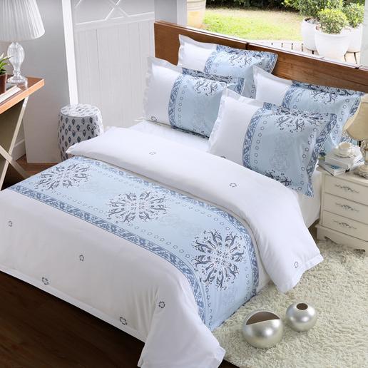 供应  厂家直销酒店布草全棉床尾巾花型四件套宾馆床上用品可定制规格