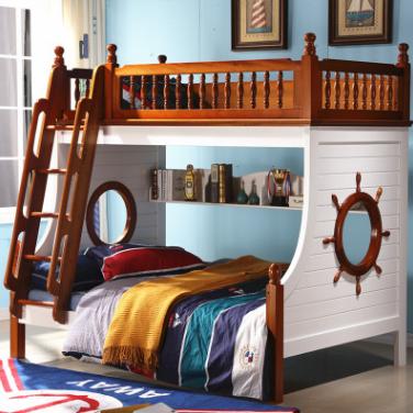 供应 腾世地中海高低床海盗床儿童上下床双层床美式子母床上下铺胡桃木