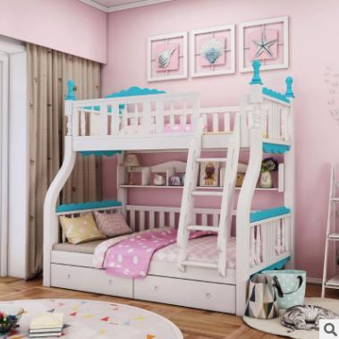 供应 韩式实木儿童床公主床女孩双层男孩上下床高低床带护栏卡通子母床