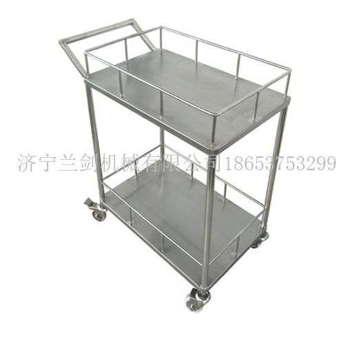 不锈钢二层推车器械车带护栏推车