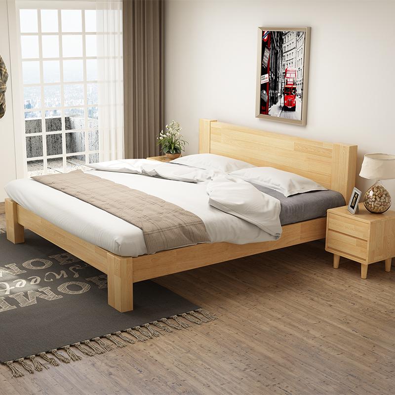 北欧日式全实木床简约双人床U4J076