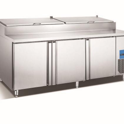 供应 不锈钢工作台 三门比萨风冷工作台 厨房保鲜设备
