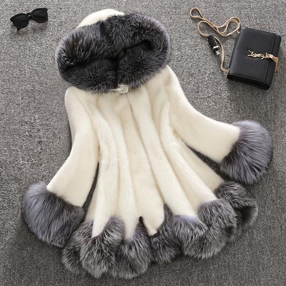 供应 江苏女装新款特价貂皮大衣女皮草女装狐狸毛外套中长款皮草外套