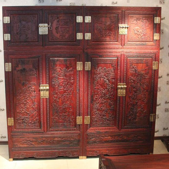 供应  红木家具 4件套百子顶箱柜 微凹黄檀衣柜