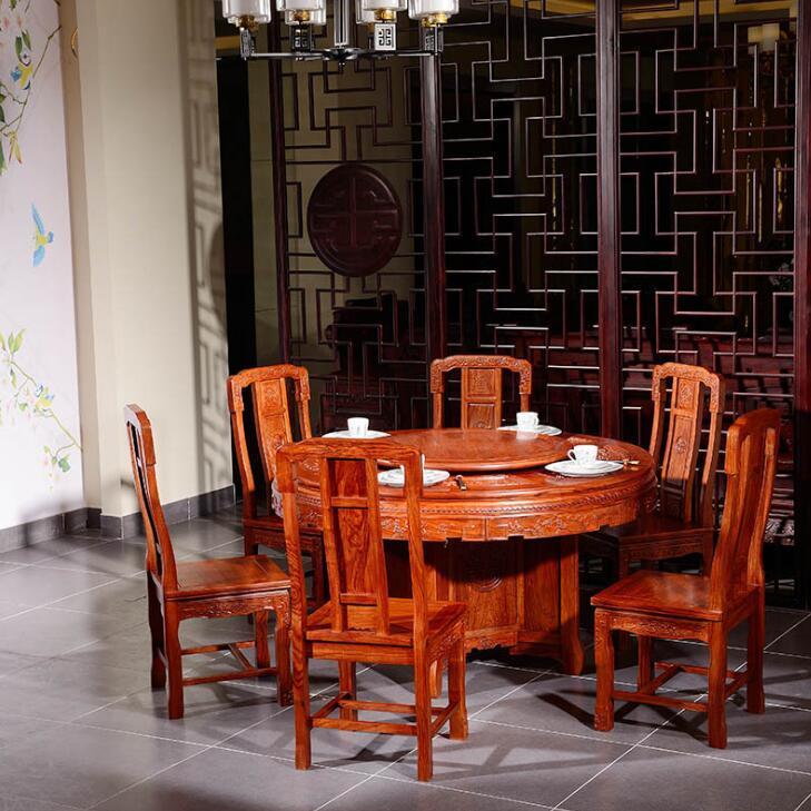 供应 国色天香圆台红木家具 缅甸古典红木餐桌椅组合