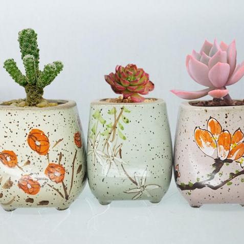 供应新款创意手工简约多彩流釉窑变陶瓷花盆