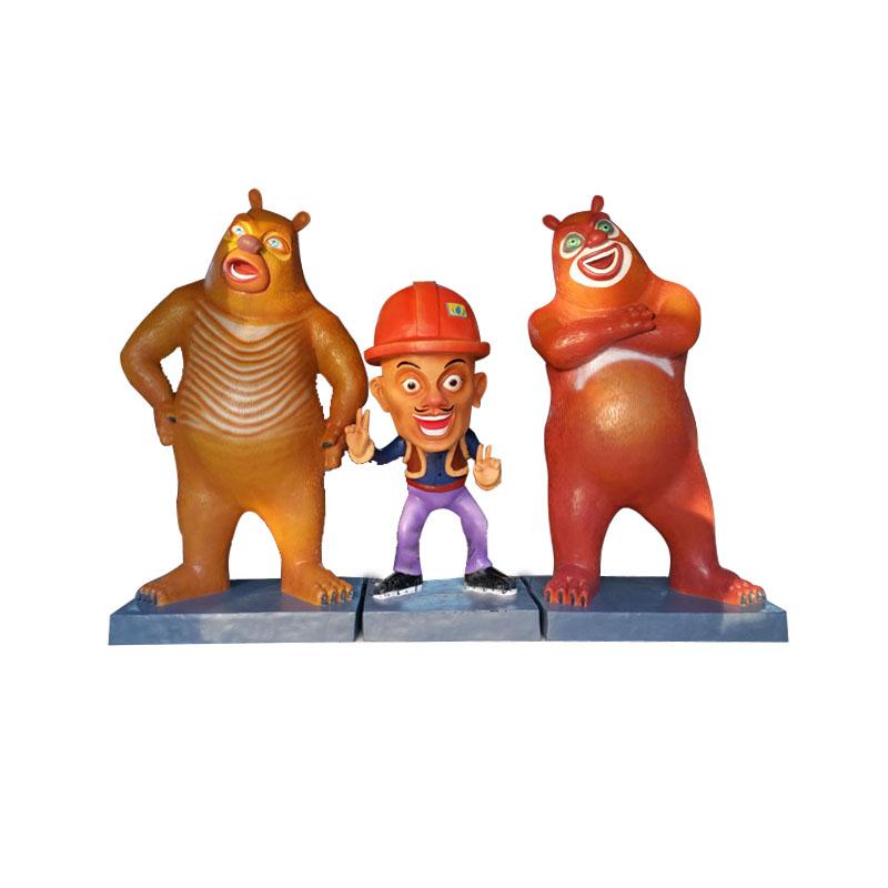 玻璃钢熊出没卡通雕塑城市美化园林摆件卡通人物雕塑厂家直销