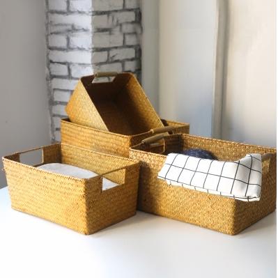 供應 日式復古海草編收納盒長方形藤編竹編收納筐田園廚房浴室儲物籃子