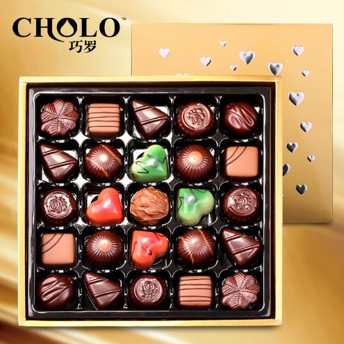 供应 巧罗 进口料25颗纯夹心DIY巧克力礼盒装 批发 包邮