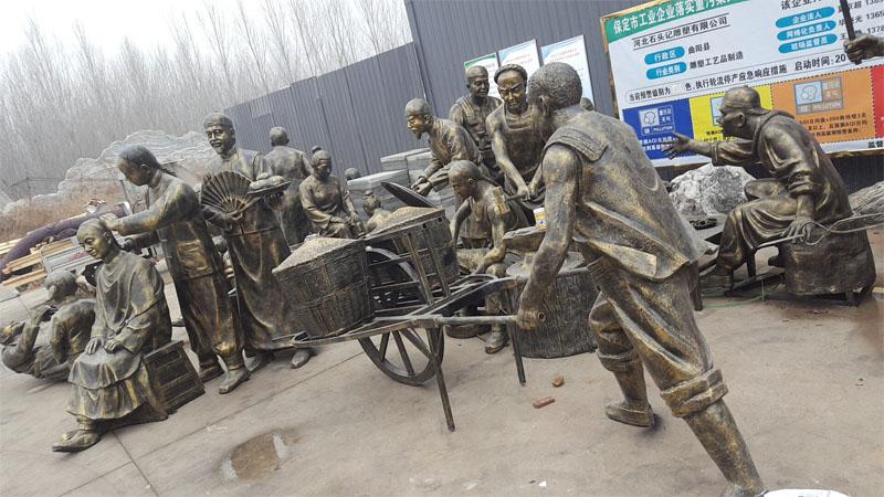 玻璃钢丰收推车人物雕塑民间人物雕塑景区公园生态园园林树脂摆件