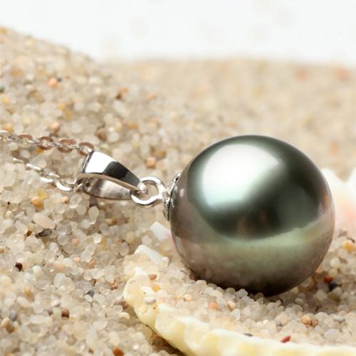 美尚珍珠 11-12mm大溪地黑珍珠 正圆强光微瑕 可送简单银托