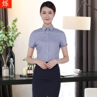供应 新品莫代尔女士衬衫短袖免烫职业装女套装保险销售职业女裙套装
