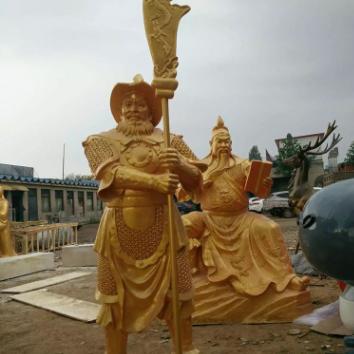 供应铜雕春秋关公铜雕彩绘定制加工历史人物铜雕塑