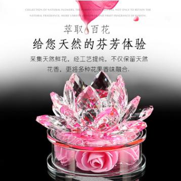 供应  新款水晶莲花香水底座汽车饰品创意车载玫瑰香水摆件