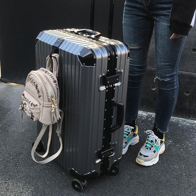 供应 慕尚行李箱女铝框拉杆箱万向轮24寸复古旅行箱男