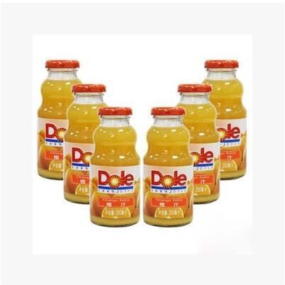 供应 Dole都乐 250ml 玻璃瓶整箱 24瓶纯果汁饮料