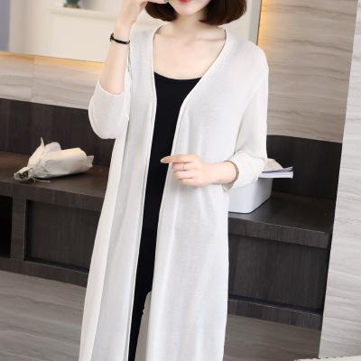 供应 2018夏装中长款开衫女外套修身韩版长袖针织衫潮范防晒衫罩衫