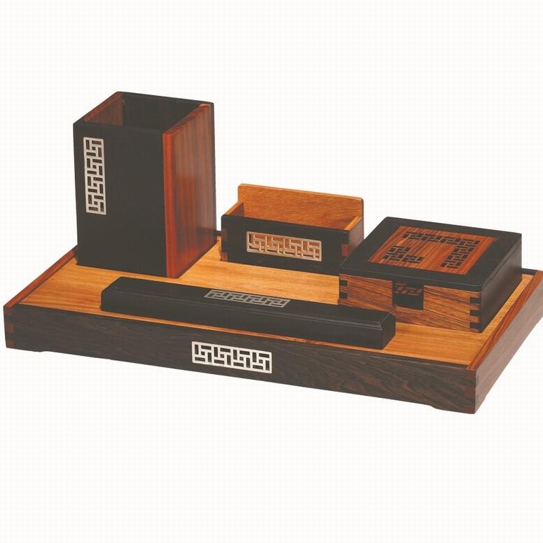 红木礼品定制 红木笔筒名片盒商务礼品套装