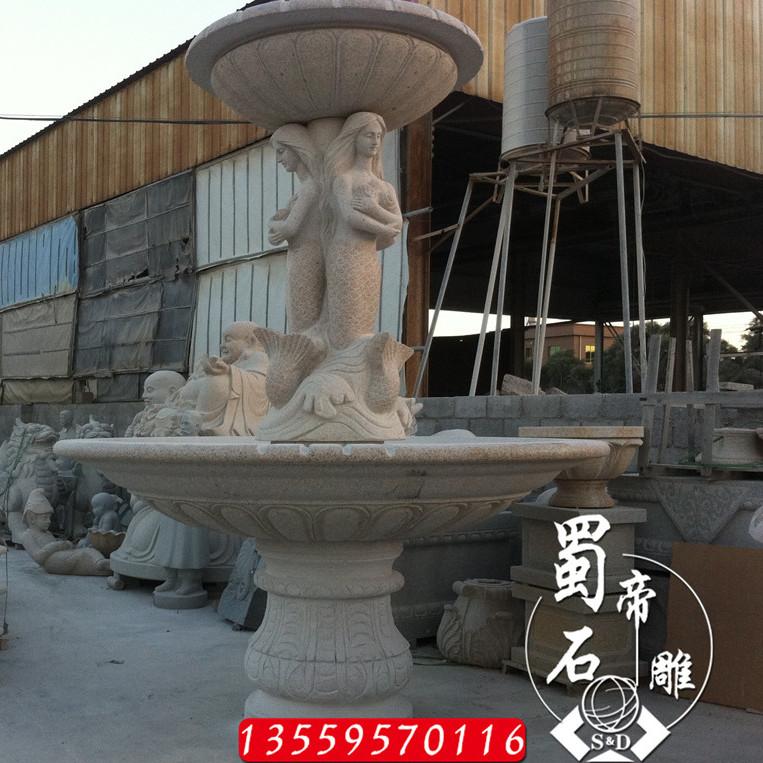 石雕喷泉 石材景观水钵 大理石欧式流水喷泉