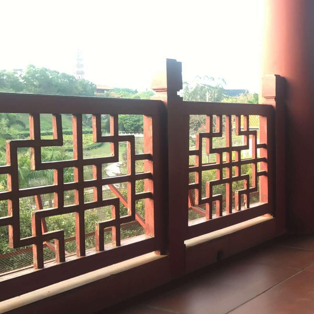 仿古校区铝透窗 云南古建楼阁镂空窗花 仿古木纹铝合金透窗