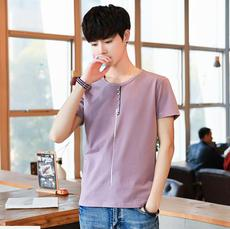 供应 夏季新款男式短袖t恤男韩版修身圆领薄款体恤半袖打底衫上衣