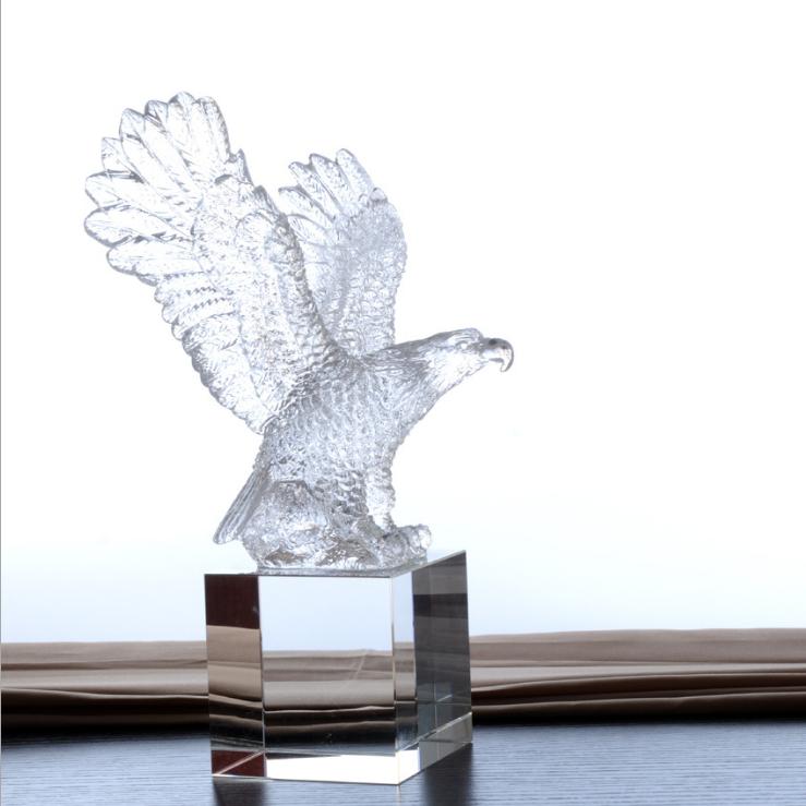 供应 厂家直销古法琉璃老鹰 奖杯老鹰 水晶琉璃摆件 工艺品礼品直销