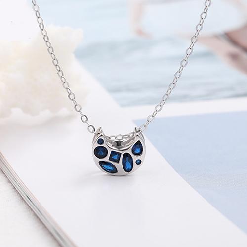 供应 默语s925纯银项饰欧美创意几何月亮蔚蓝色镶锆石项链