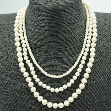 三層日韓時尚珍珠項鏈 項飾 三層不同珍珠項鏈
