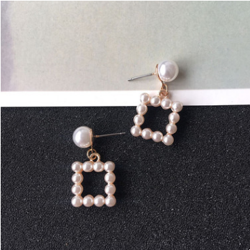 防过敏日韩新款镂空珍珠几何三角形方形气质耳钉女简约耳环饰品