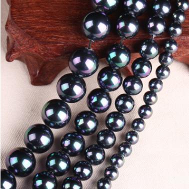 多尺寸 黑五彩貝殼珍珠散珠 diy手鏈串珠飾品配件圓珠廠家批發