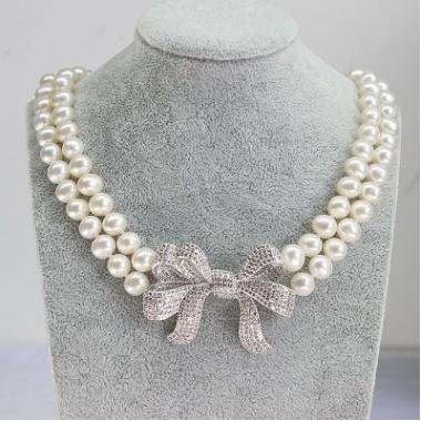 淡水珍珠項鏈 雙層花鏈 蝴蝶結滿鑽奢華 韓版新娘套鏈 女友生日禮物