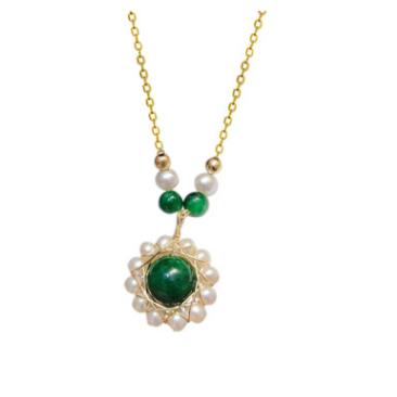 欧美进口包14K金编织淡水珍珠绕线翡翠太阳花吊坠项链 跨境饰品