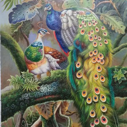 動物油畫孔雀寫實動物現代 簡歐裝飾畫 新中式客廳酒店會所 玄關過道油畫手繪 孔雀走廊過道玄關掛畫定制