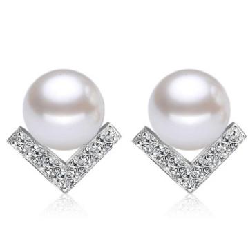 耳釘女瓖鑽韓版韓式氣質珍珠V字形三角鍍銀耳釘飾品現貨