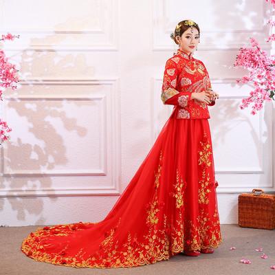 供应 中式红色婚纱喜庆拖尾长礼服