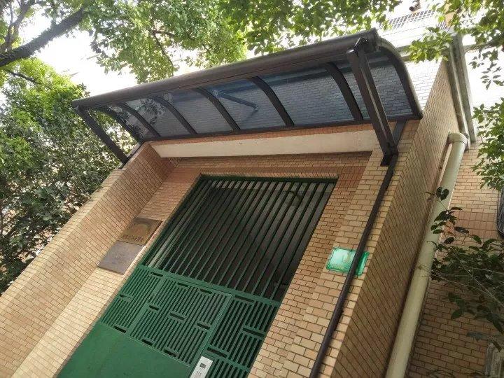 户外雨棚阳台遮阳棚庭院楼顶遮雨篷防雨防晒耐力板定制铝合金雨.图片