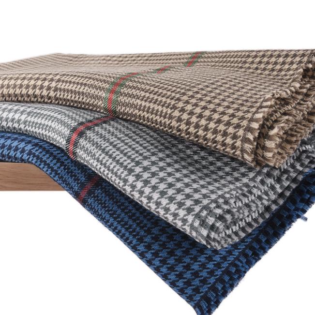 供应 内蒙古生产厂家纯羊毛女士披肩SWR0226秋冬季千鸟格保暖时尚围巾