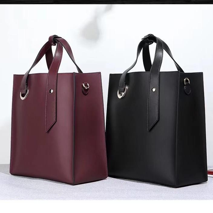 新款韩版时尚百搭牛皮水桶包真皮女包品牌单肩手提女士包包代发