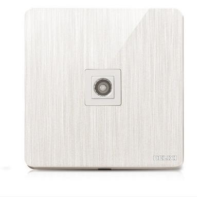 供应 德力西3D拉丝大板珠光白 家用86型墙壁开关插座面板一位电视插座