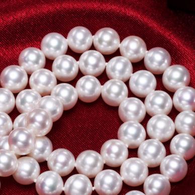 供应 圆强光微瑕7.5-8-8.5mm珍珠项链无核淡水送妈妈老师