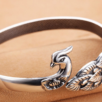 供应 纯银女手环银镯子孔雀银手镯民族风复古银饰品