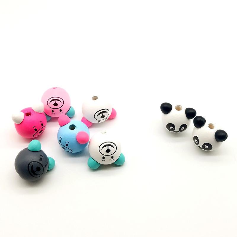 供應 新款可愛立體小熊頭 熊貓木珠
