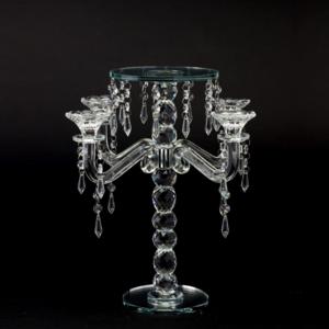 供应 欧式风格水晶烛台摆件 多头玻璃花架 创意婚庆餐桌水晶摆件