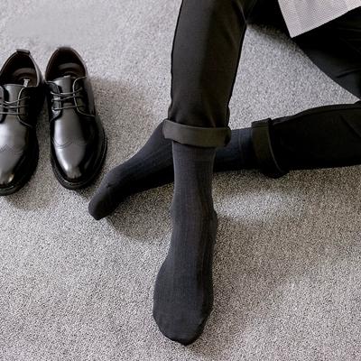 供應 秋冬新款絲光棉粗條中筒襪 男士休閑商務襪子正裝襪