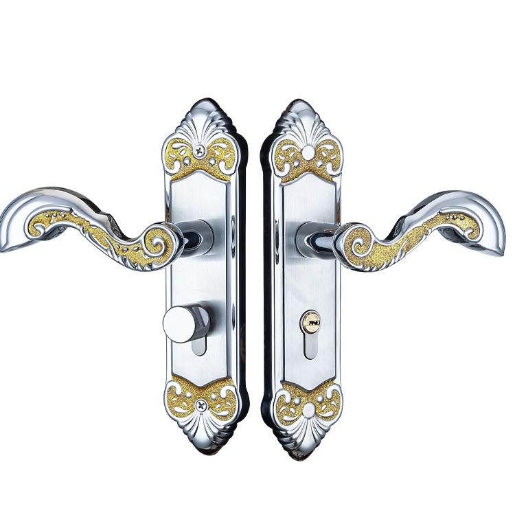 三鹏304不锈钢执手锁简约静音实木门锁卧室房间门锁五金锁具